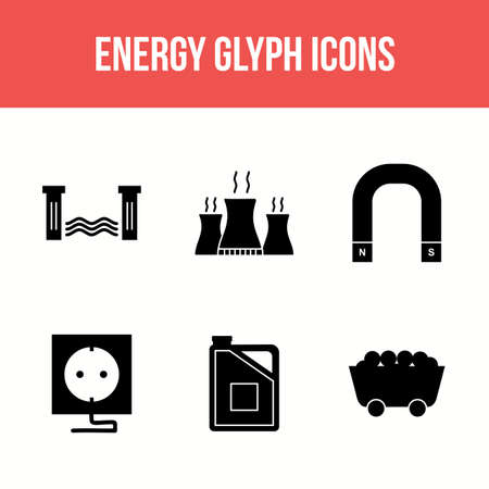 Beautiful Unique Energy Vector Icon Set Ilustração
