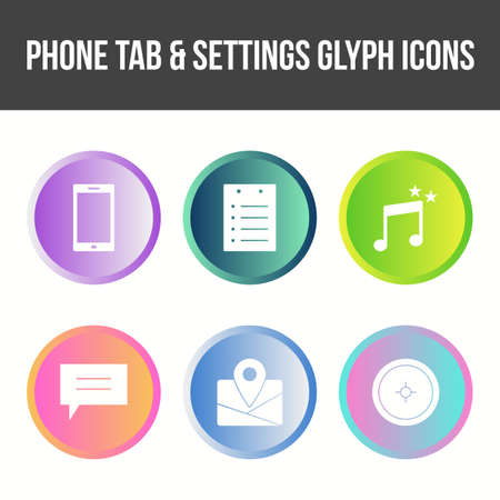 Phone Tab and Settings Vector Icon Set