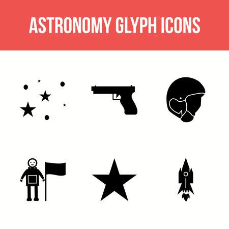 Unique Astronomy Glyp Vector Icon Set