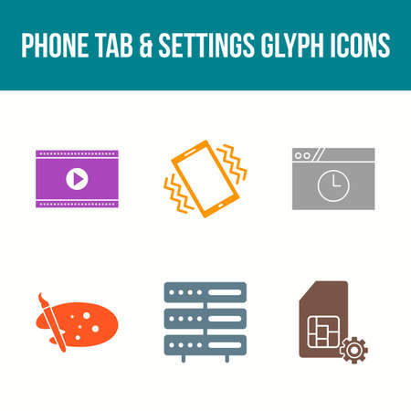 Unique Phone Tab and Settings Vector Icon Set