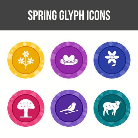 Spring Glyph Vector Icon Set