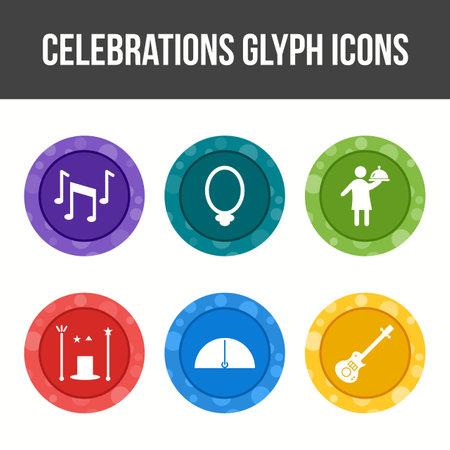 Unique Celebration Glyph Vector Icon Set