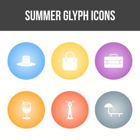 Unique Summer Glyph Vector Icon Set 矢量图像