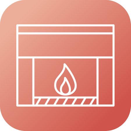 Unique Fireplace Line Vector Icon