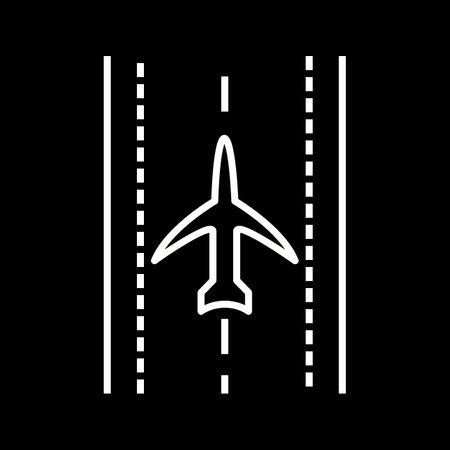 Unique Plane On Runway Line Vector Icon