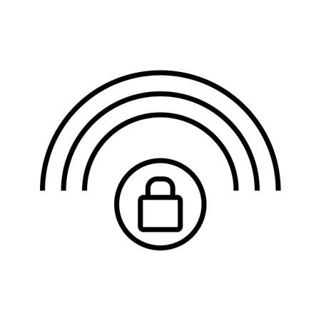 Protected wifi line black icon 向量圖像