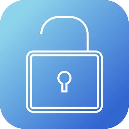 Open lock line vector icon