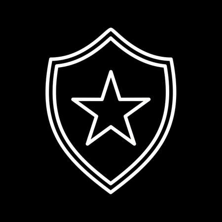 Unique shield line vector icon