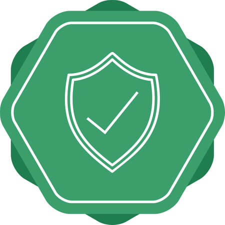 Protected shield line vector icon