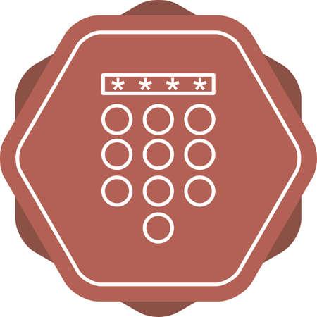 unique Passcode line vector icon 向量圖像