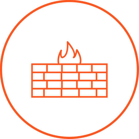 Unique line icon of firewall