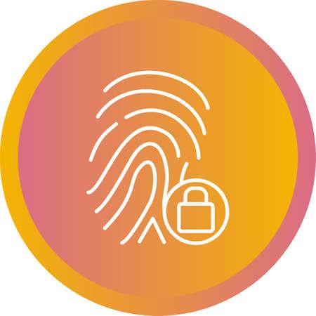 Unique line icon of fingerprint lock