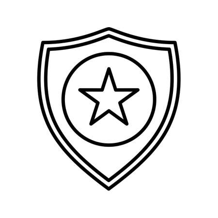 Police badge line vector icon