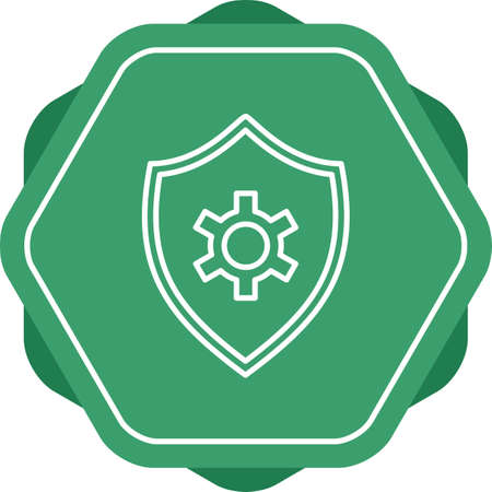 Shield settngs line vector icon