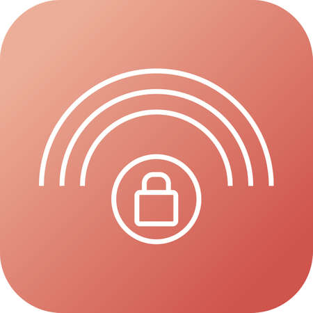 Protected wifi line black icon 矢量图像