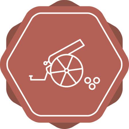 Unique Cannon Line Vector Icon