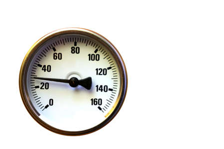 Temperature gauge isolated on white Stock Photo