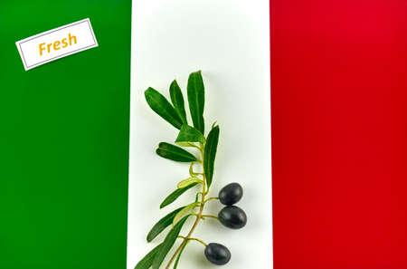 Olive branch with olives onto flag