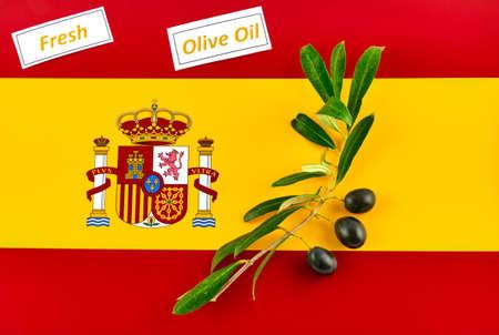 Olive branch with olives onto Spanish flag 版權商用圖片