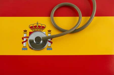 Stethoscope on Spanish National Flag