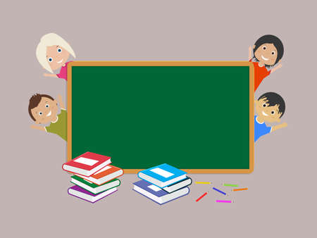 School Board, few happy students, a few books and colored pencils for education concept design. Back to school vector illustration.