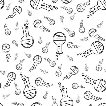 flask with chemical. Seamless pattern for scientific, educational, medical illustrations. Vector illustration Illustration