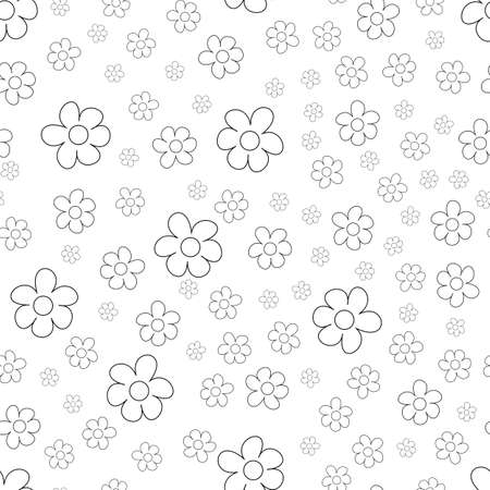 Black and White Ditsy Pattern with Small Flowers for Seamless Texture. Feminine Ornament for Textile, Fabric, Wallpaper, background. Vector illustration.