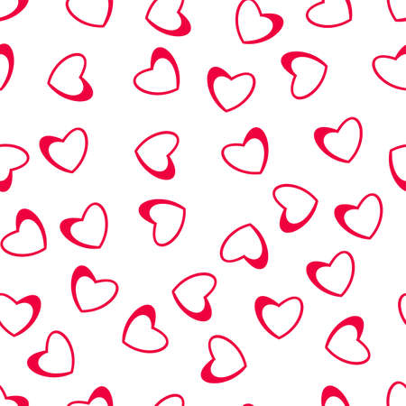 Seamless pattern of hearts on a white background. for postcards, greeting, invitation for Valentines day, birthday, wedding, holiday, party. Vector illustration.
