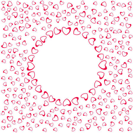 abstract love frame from a pattern of hearts. For greeting cards, invitations Valentines day, wedding, birthday. Vector illustration. Ilustração