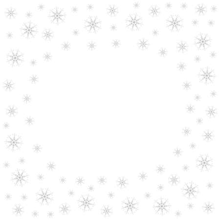 Festive frame with snowflakes on a white background. For posters, postcards, greeting for Christmas, new year. Vector illustration.