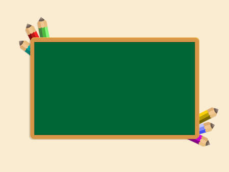 green school Board and a few pencils of different colors. Education concept design. Vector illustration