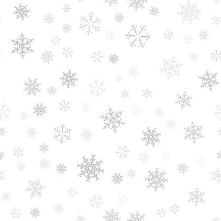 Seamless pattern. Christmas abstract background made of snowflakes on white.