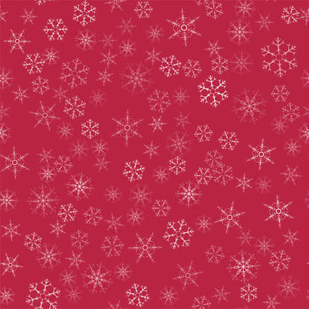 abstract seamless Christmas  snowflakes  pattern on red background