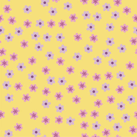 abstract seamless pattern of flowers on a yellow background. For prints, cards, invitations, birthday, holidays, party, celebration, wedding, Valentines day Vector illustration