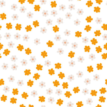 small colored flowers on a white background. For prints, postcards, greeting cards, wedding invitations, birthday, Valentines day. Seamless floral pattern. Vector illustration.