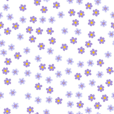 A small colored flowers on a white background. For prints, postcards, greeting cards, wedding invitations, birthday, Valentine's day. Seamless floral pattern. Vector illustration.
