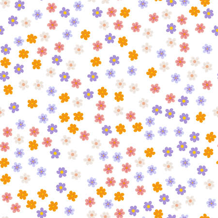 small colored flowers on a white background. For prints, postcards, greeting cards, wedding invitations, birthday, Valentine's day. Seamless floral pattern. Vector illustration.