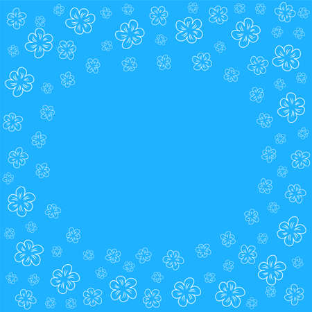 Abstract floral frame on a blue background, which can be used for prints, greeting cards, invitations, wedding, birthday, party, Valentine's day. Illustration