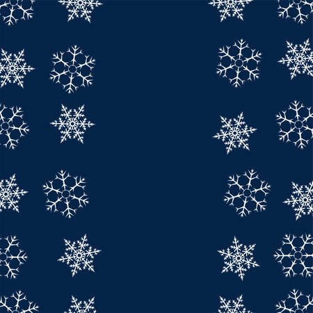 Christmas pattern with snowflakes frame in blue pattern illustration.