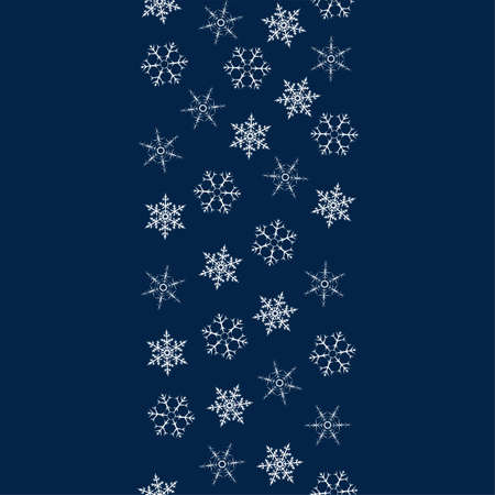 Christmas greeting card with frame of snowflakes in dark blue pattern illustration.