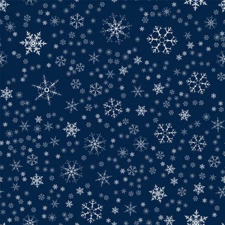 Christmas card with pattern of snowflakes abstract in dark blue illustration. Ilustração