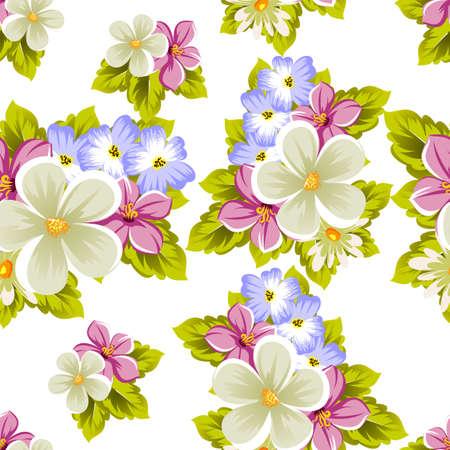 いくつかの花の花のシームレスなパターン。カード、招待状、誕生日の挨拶、結婚式、パーティー、休日、お祝い、バレンタインデーのデザインの  イラスト・ベクター素材