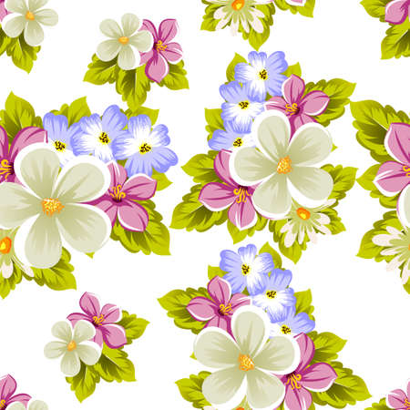 floral seamless pattern of several flowers. For design of cards, invitations, greeting for birthday, wedding, party, holiday, celebration, Valentine's day. Vector illustration. Illustration