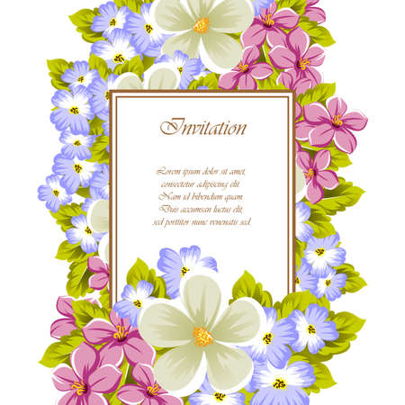 Frame of a few flowers. For design of cards, invitations, greeting for birthday, wedding, party, holiday, celebration, Valentine's day. Vector illustration