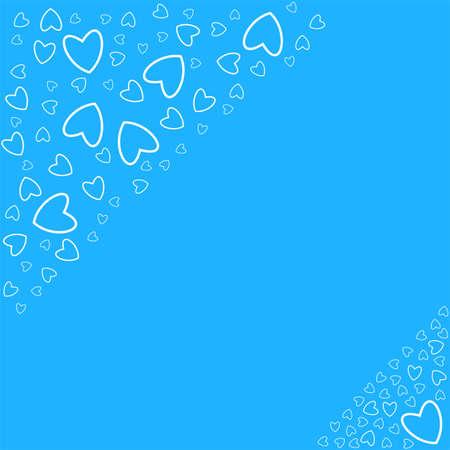 Frame of hearts on a blue pattern design. Illustration