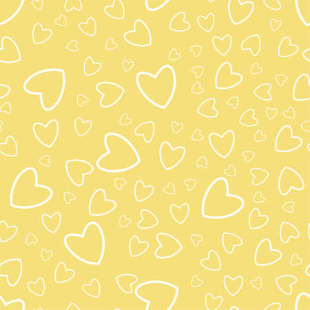 Hearts pattern on a yellow illustration.