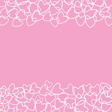 Frame Of Hearts On A Pink Background Prints Greeting Cards
