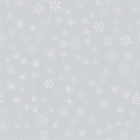 Abstract pattern of snowflakes over gray illustration.