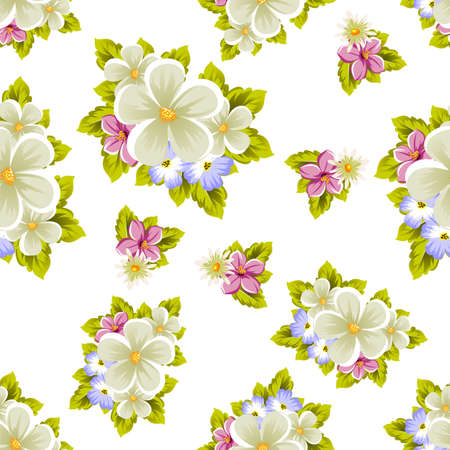 Floral seamless pattern of several flowers and leaves. For design of cards, invitations, posters, banners, greeting for birthday, Valentine's day, wedding, party. Vector illustration. Ilustrace