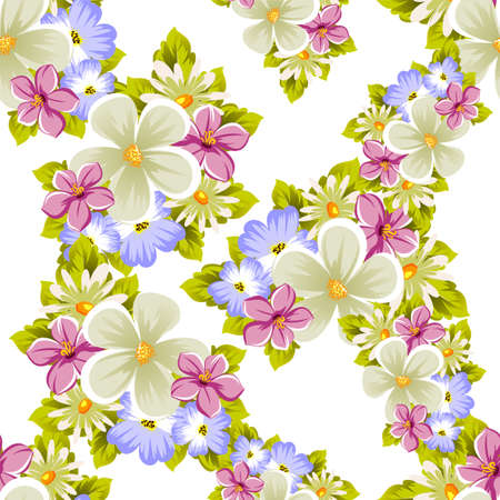 Floral seamless pattern of several flowers and leaves. For design of cards, invitations, posters, banners, greeting for birthday, Valentine's day, wedding, party. Vector illustration. Ilustração